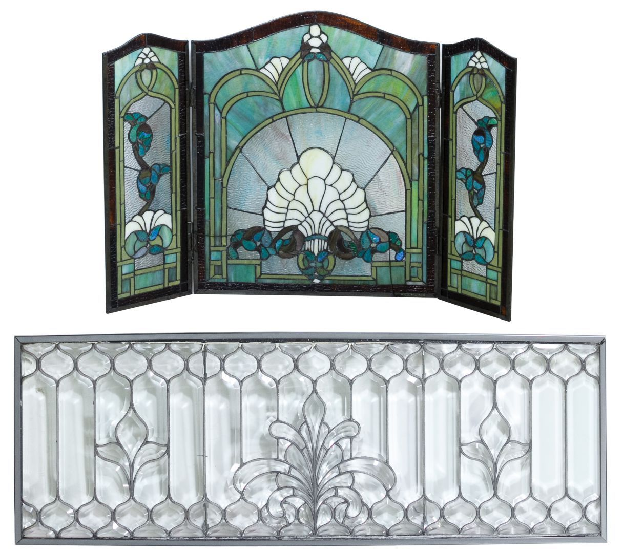 Lot 134: Leaded Glass Window and Stained Acrylic Fireplace Screen ...