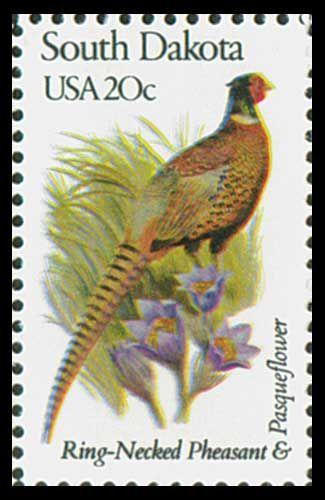 ring necked pheasant a south dakota state bird flower stamp 1982