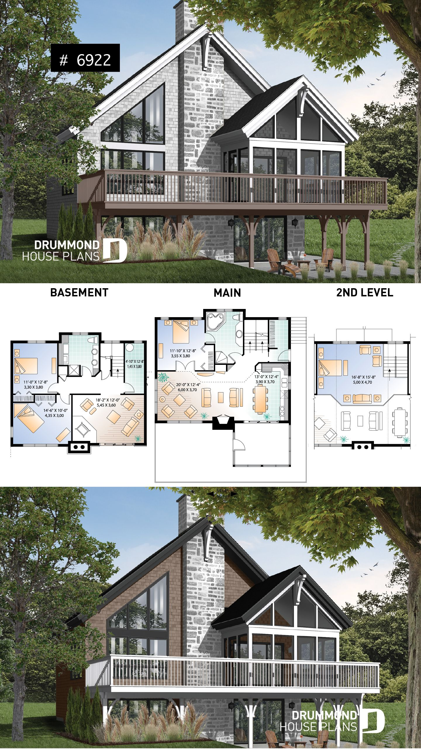 Discover The Plan 6922 The Sun Stream 2 Which Will Please You For Its 2 3 4 Bedrooms And For Its Cottage Chalet Cabin Styles Lake House Plans Cottage Plan House Plans