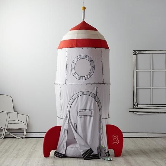 A rocketship playhouse ideal for lil' tots who aspire to be astronauts.