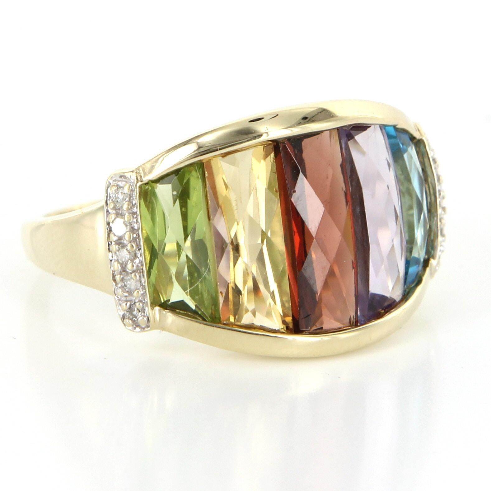 Rainbow Gemstone Diamond Cocktail Ring 10 Karat Gold Vintage Fine Estate Jewelry Pre Owned Jewelry Estate Jewelry Gemstones
