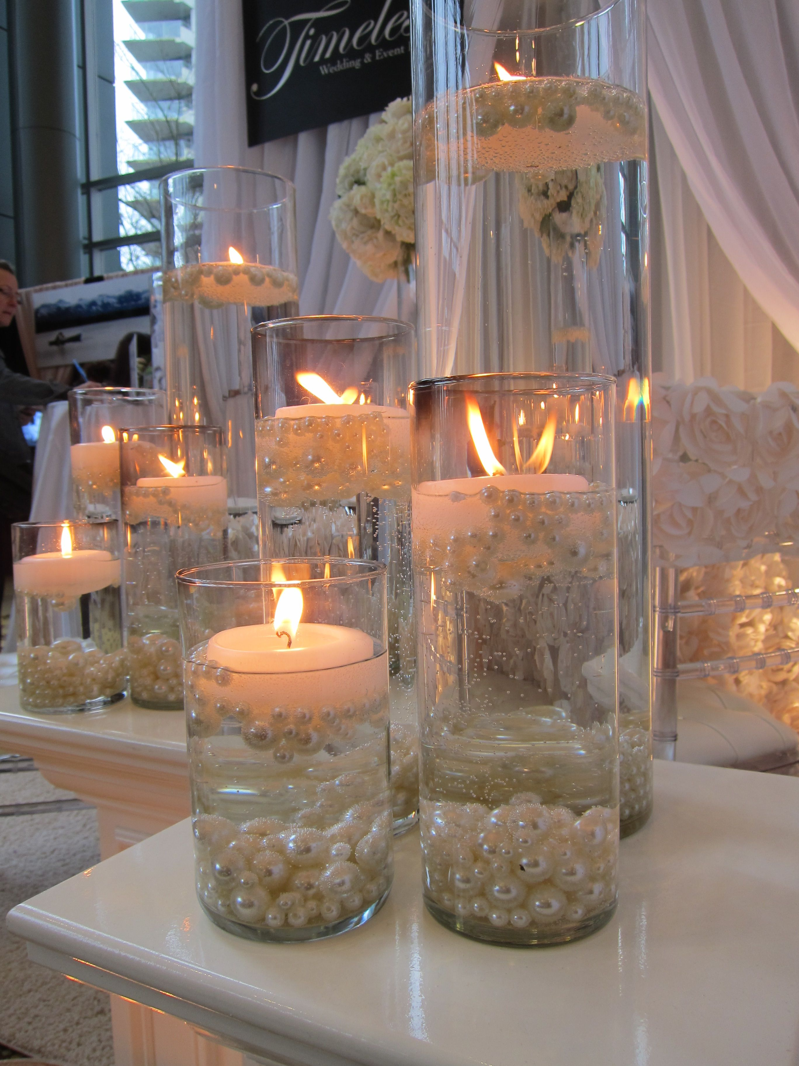 candles with pearls  Centerpieces  Candlelight Focus