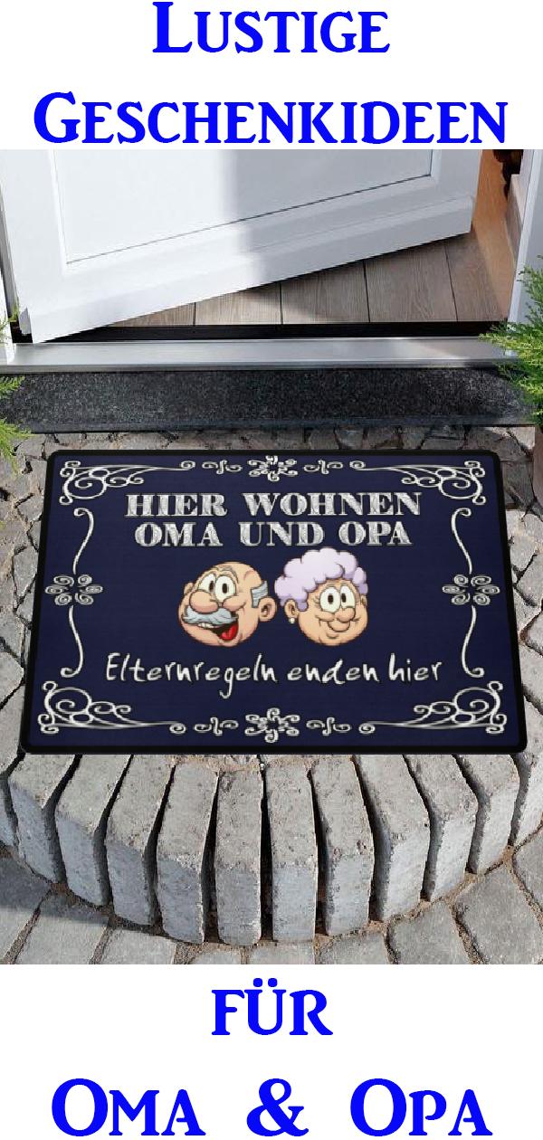 Hier wohnen Oma und Opa, Elternregeln enden hier Fußmatte #grandpagifts