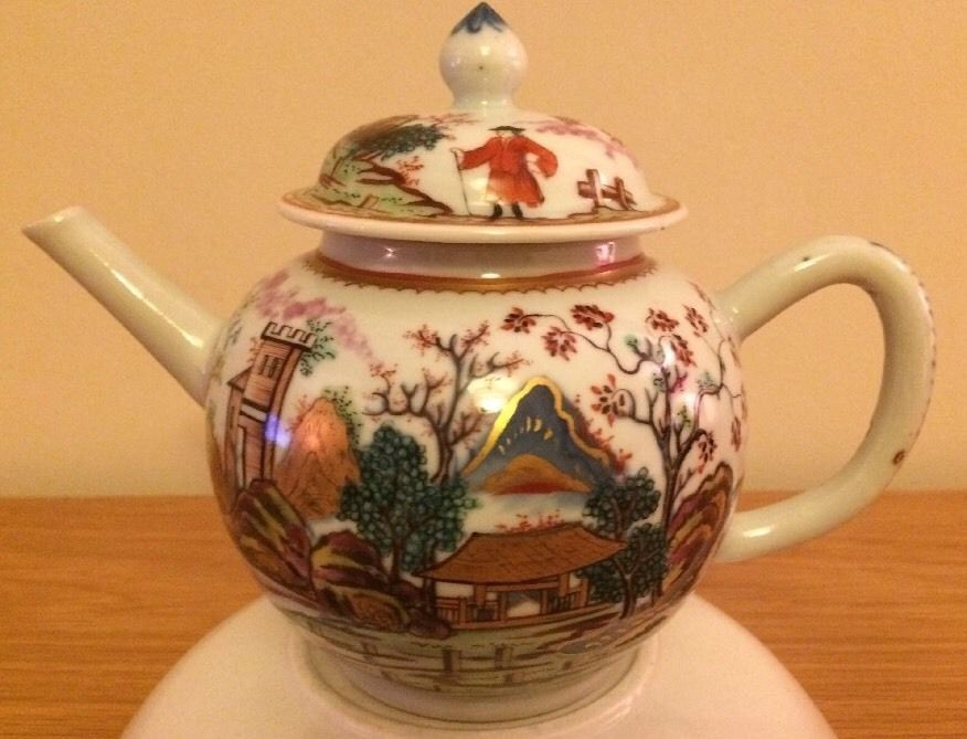Rare Important 18th C Limehouse Class English Decorated Chinese Porcelain Teapot Porcelain Teapot