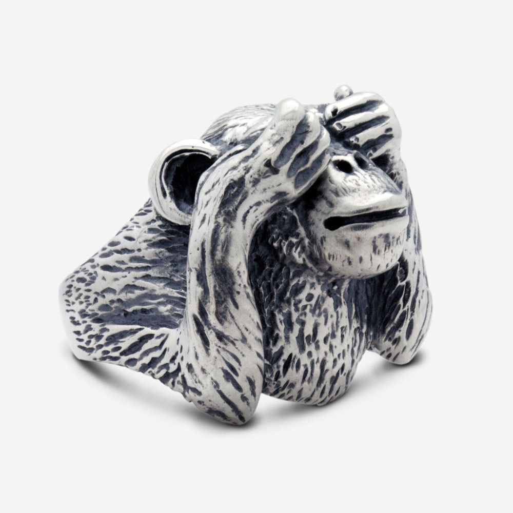 Sterling Silver Wise Monkey Ring | Anillos de plata esterlina, Plata ...