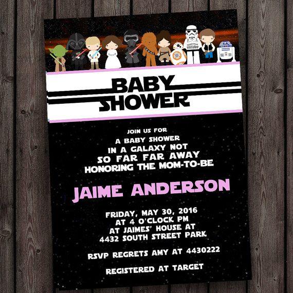 girl star wars baby shower invitation