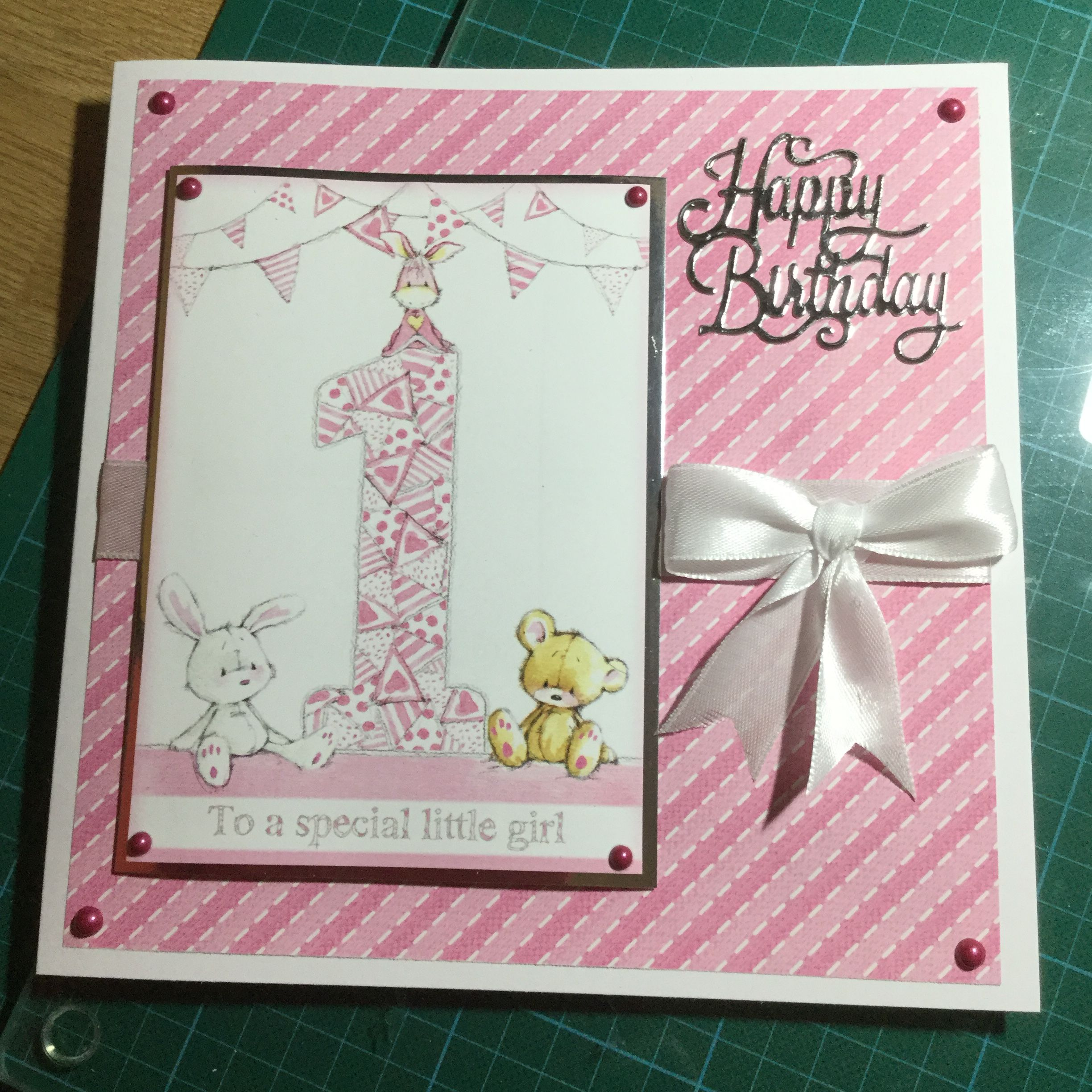 1st Birthday Card For My Great Granddaughter 1st Birthday Cards Handmade Card Making Birthday Cards