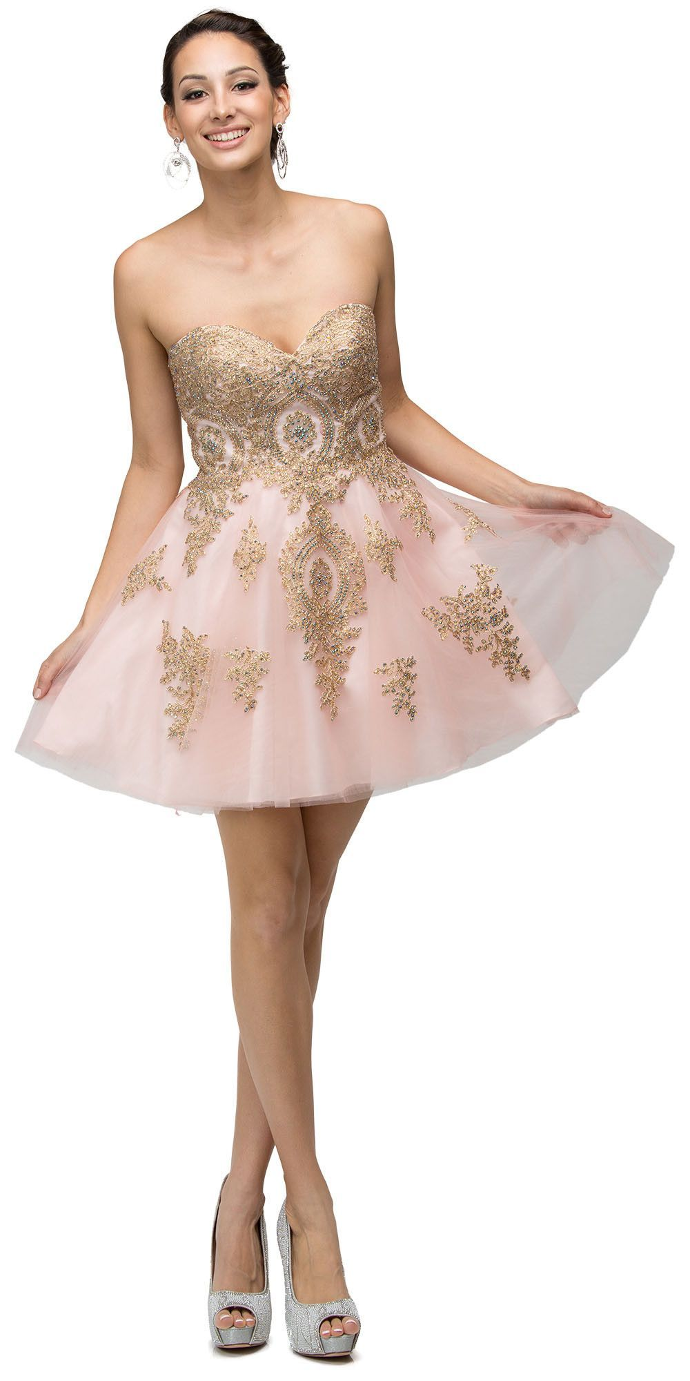 Burgundy embroidered baby doll strapless prom dress short products