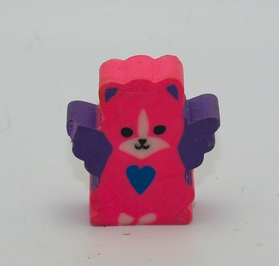 Vintage Lisa Frank Winged Kitten Kitty Cat Heart Pink Purple Blue Eraser Topper #LisaFrank