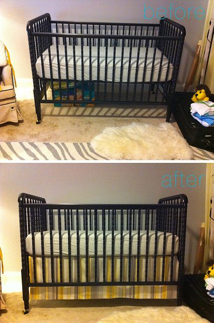 Diy No Sew Crib Skirt It Is Adjustable So When You Lower The