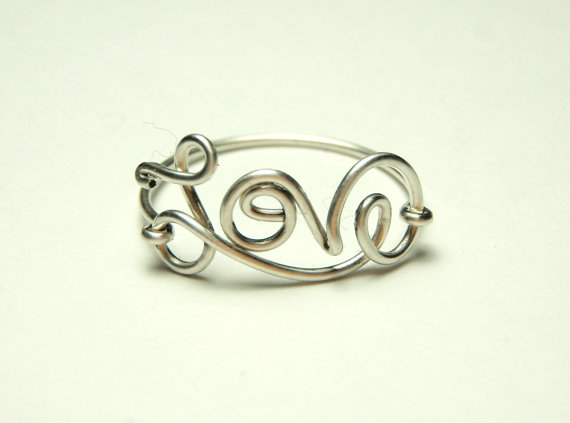 Love ring- Sterling silver wire rings- cute script love wire ring ...
