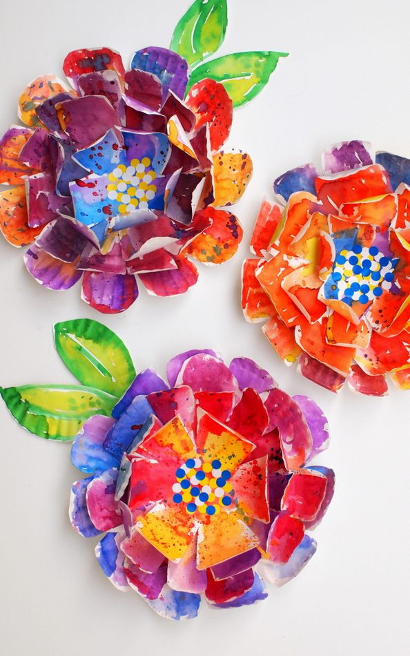 Hyper Colorful Painted Paper Plate Flowers Art Projects For Kids