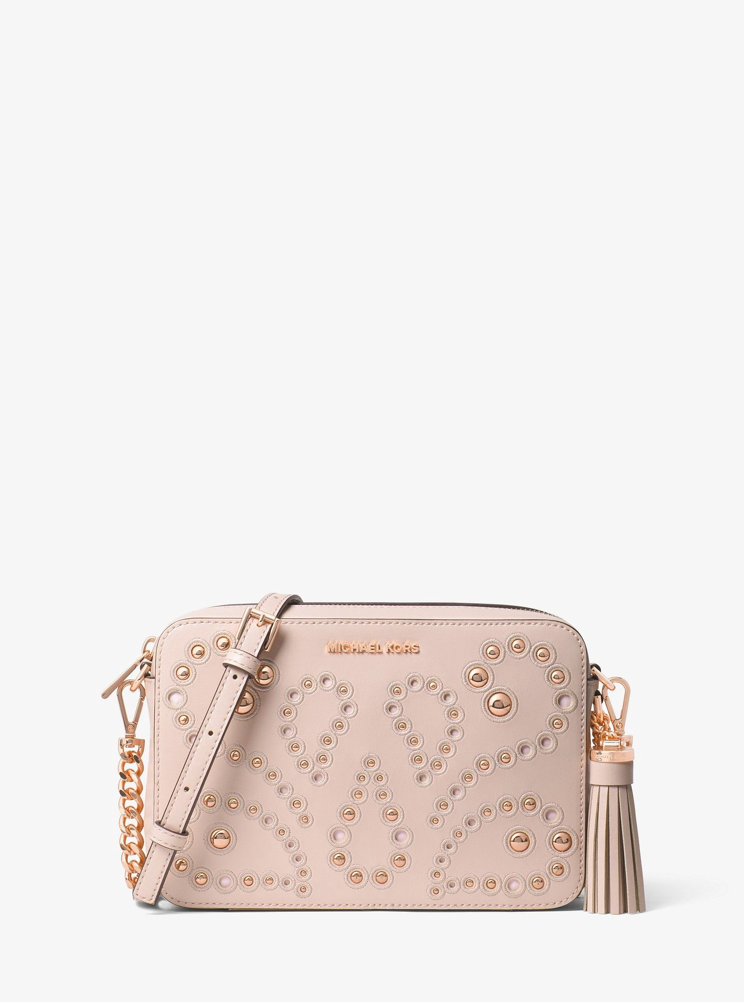 Michael Kors Ginny Medium Embellished Leather Crossbody - Soft Pink ... 84af0ecfc9cc1