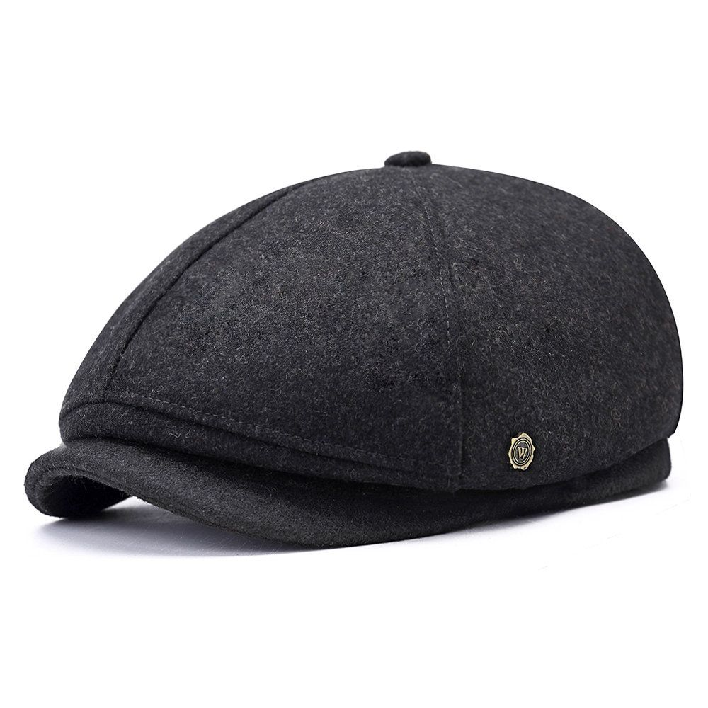 89d438f3 Mens Winter Thicken Warm Wool Beret Cap Outdoor Casual Solid Forward  Octagonal Hat Cheap - NewChic Mobile