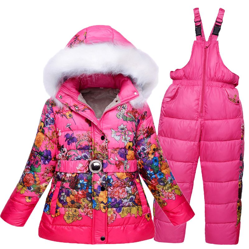 Thermal Winter Kid Girls Snowsuit With Fur Hooded Thick Baby Ski Suit  Waterproof Breathable Snow Snowboard 6333d3da8