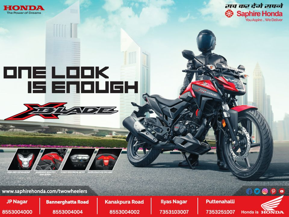 Honda X Blade S Ever So Stylish And First In Class Robo Faced Led Head Lamp One Look Is Enough For More Details Visit Saphire Honda Two Wheelers Call 8880230 In 2020