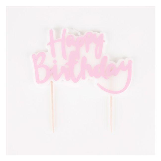 1 bougie d'anniversaire Happy Birthday rose