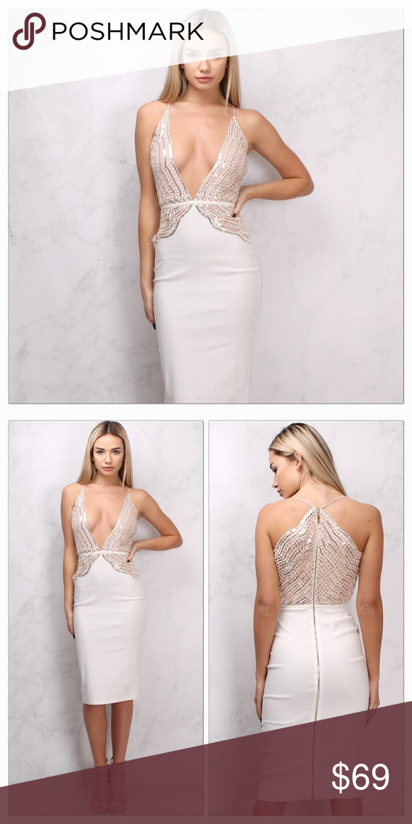 WHITE & NUDE SEQUIN LACE PLUNGE MIDI DRESS size 4 NWT WHITE AND NUDE ...