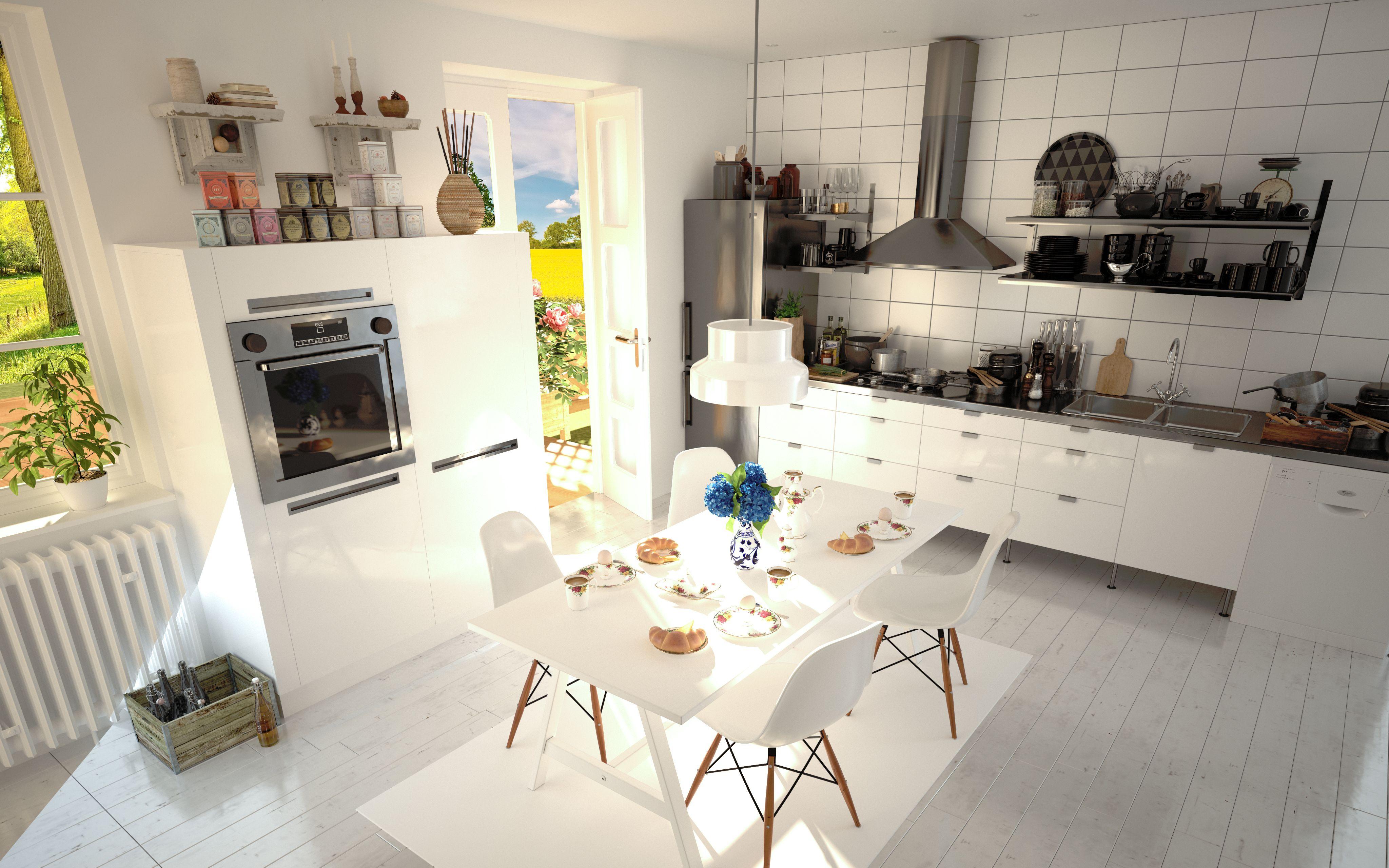 interiordesign #kitchen #breakfast #sunny #bright #white #3d #render ...