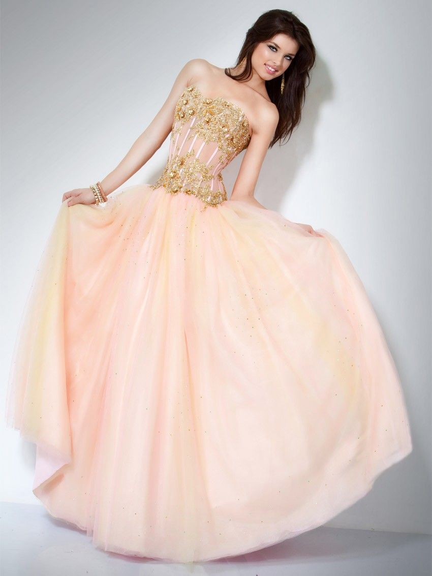 Ball Gown Sweetheart Floor Length Chiffon Beautiful Prom Dresses ...