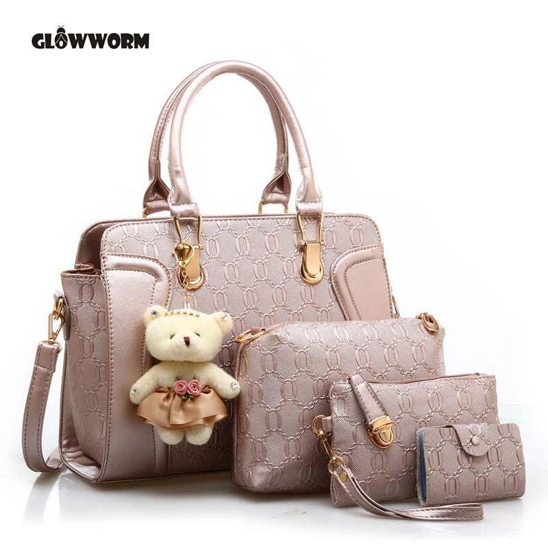 Brand Composite Bags Women Shoulder Patchwork Crossbody Messenger Bag With Bear Doll 4 Pieces PU Bag Female cx257