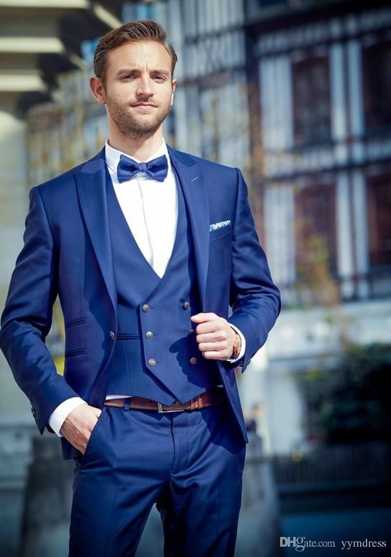 Customiz Navy Wedding Groom Tuxedos 2019 Peaked Lapel One Button Men Suits Prom Best Man Blazer (Jacket Pants Vest Bow) #men'ssuits