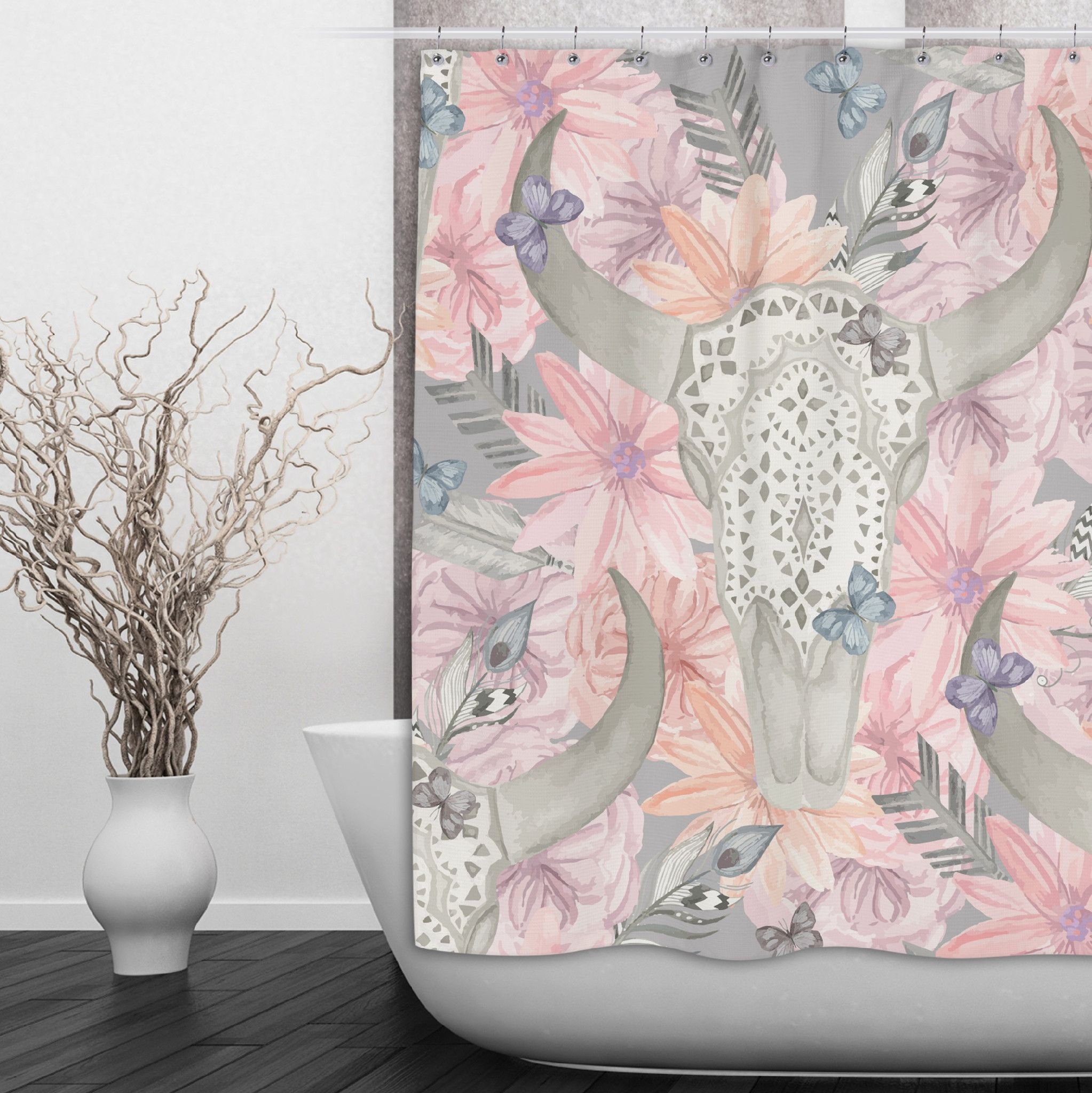 Longhorn Skull Shower Curtain With Lace And Pink Flowers
