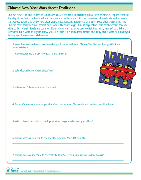 Reading comprehension worksheet with Chinese New Year theme ...