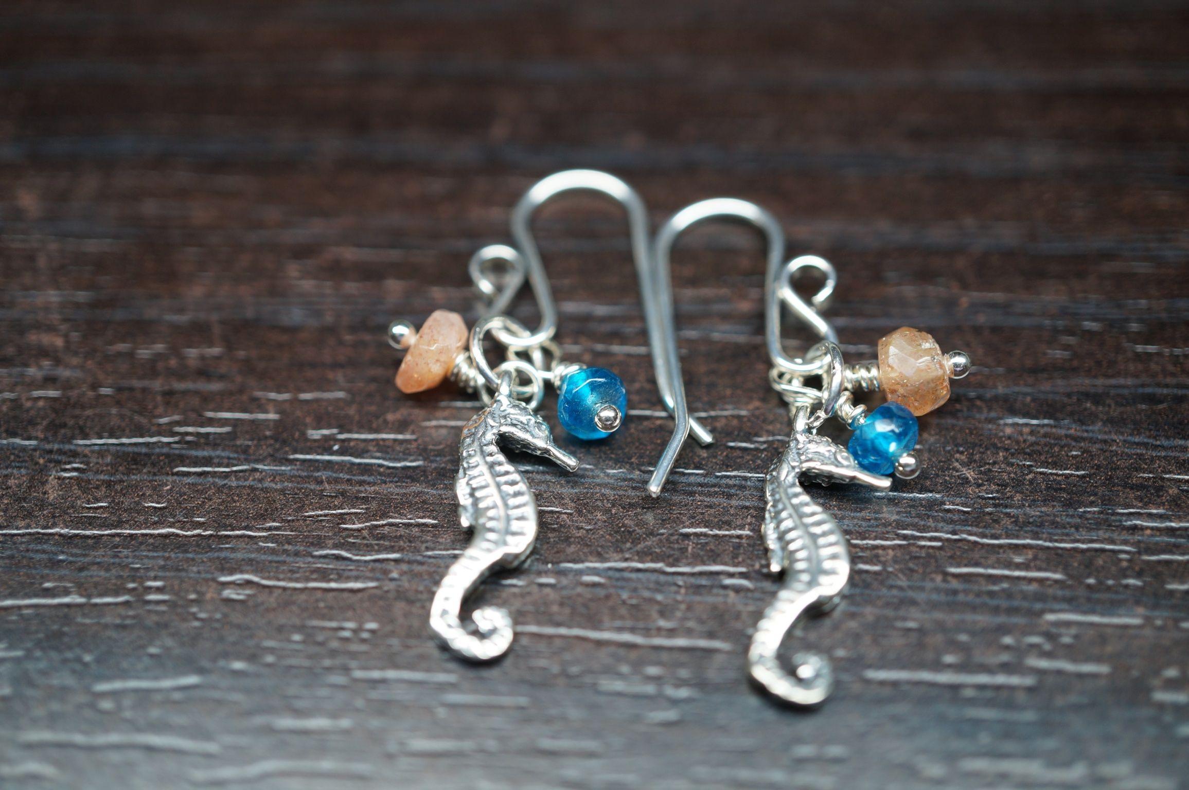 Sterling silver seahorse, sun stone, apatite earrings