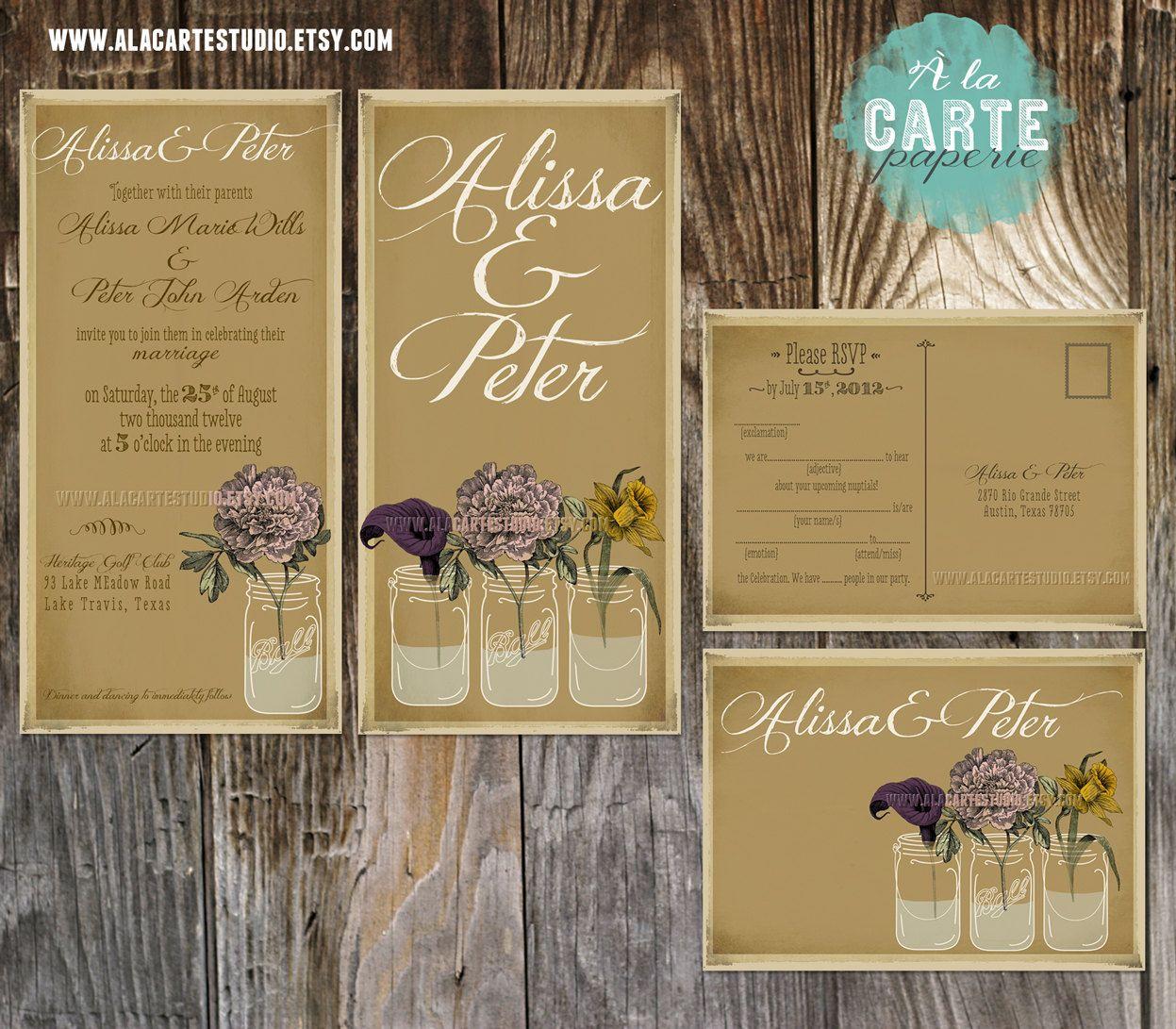 Rustic Mason Jar Wedding Invitation Suite Invitation and RSVP - Mason Jars Vintage Wedding - Kraft Paper Wedding. $30.00, via Etsy.