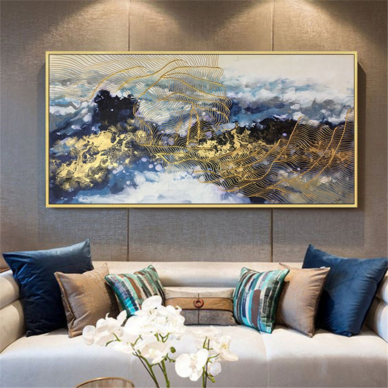 Gold lines abstract painting wall art pictures for living room wall decor home hallway Original acrylic color flow canvas gold art texture