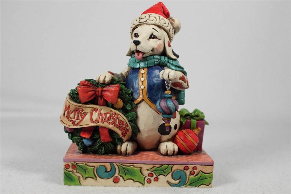 Jim shore jolly old santa paws christmas dog w wreath figurine