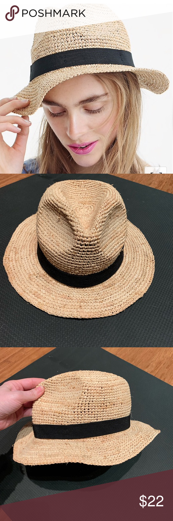 c51133b20900 J Crew Packable Straw Hat Raffia straw hat from J Crew Gently used. Size  small Retains shape after bending / packing J. Crew Accessories Hats