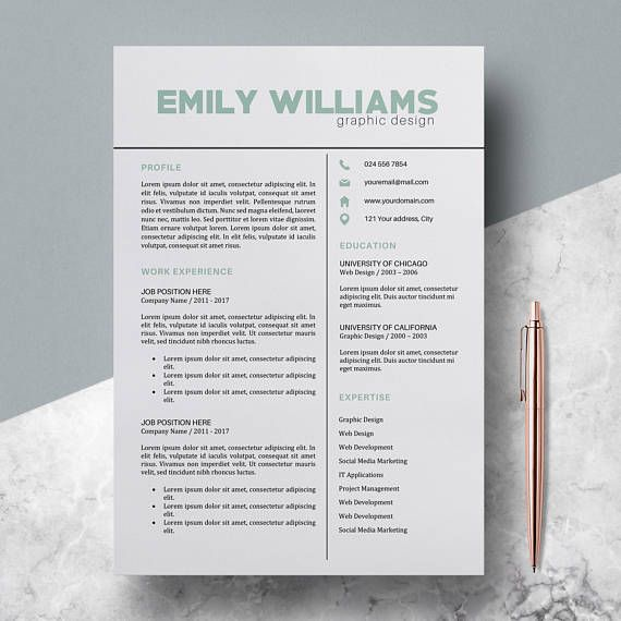 Resume Template, CV Template for MS Word, Professional and Modern