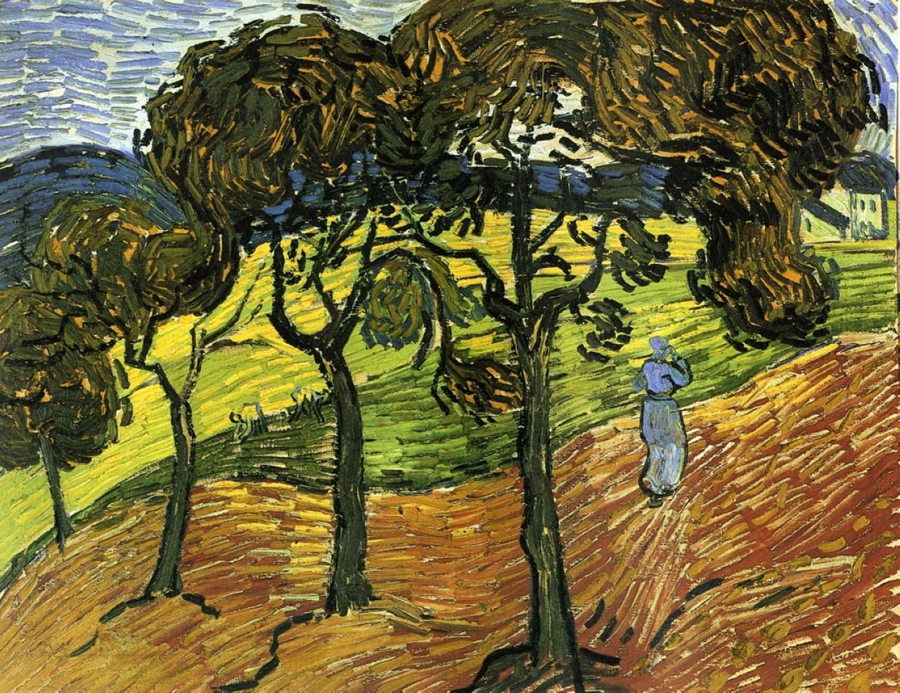 Landscape with trees and figures vincent van gogh for Van gogh paintings locations