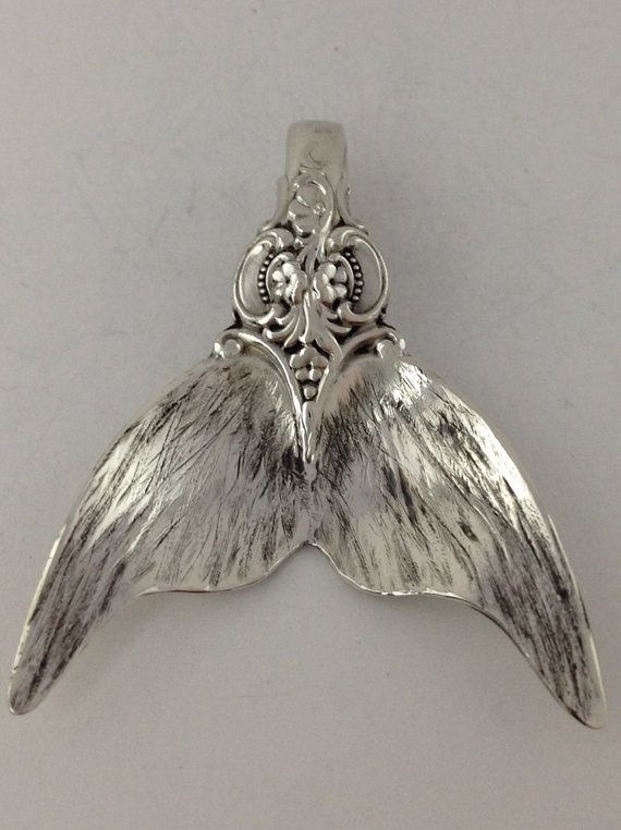 Grande Baroque Sterling Spoon Mermaid Tail Pendant