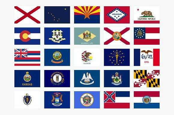 50 State Flags Of The Usa State Flags Illinois Indiana Flag