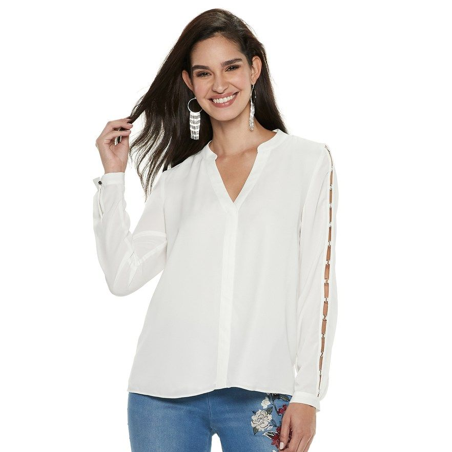 e87a87e7c79427 JLO by Jennifer Lopez Women s Embellished Chiffon Top