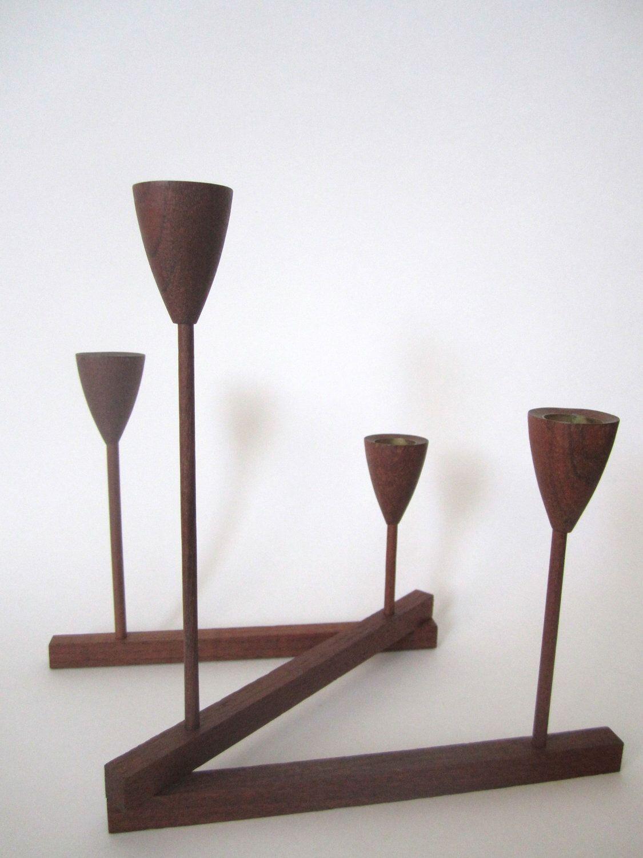 Mid century modern teak wood candelabra candle holder centerpiece