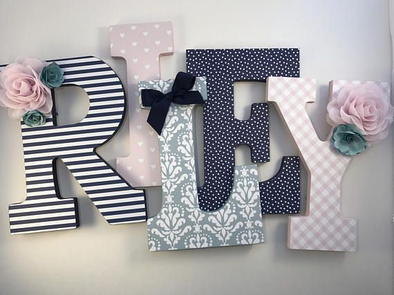 Navy And Pink S Nursery Letters Blush