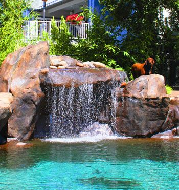 Grotto waterfalls with underwater benches | Building ideas ...