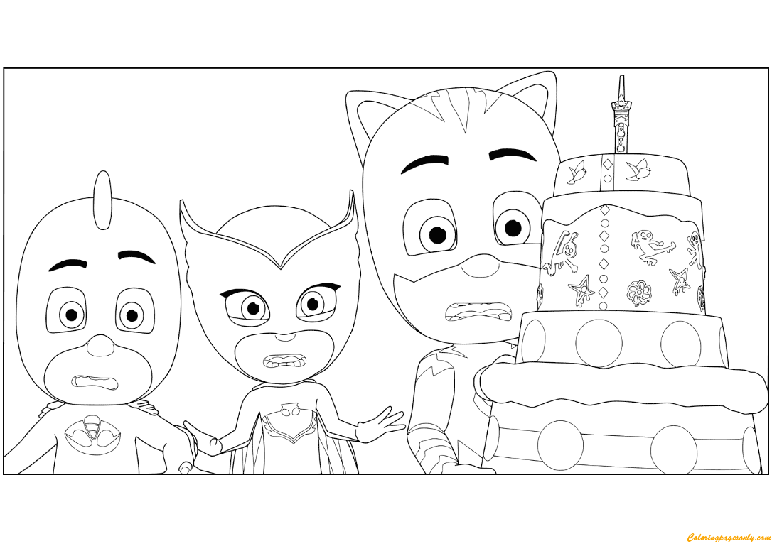Pj Masks Birthday Cake Coloring Page