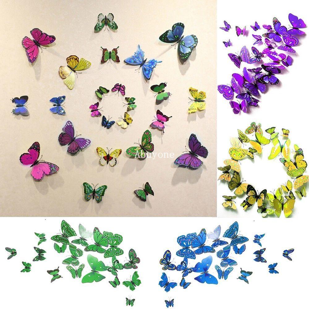 3D Butterfly Wall Stickers Sticker Art Diy Decal Home Room ...