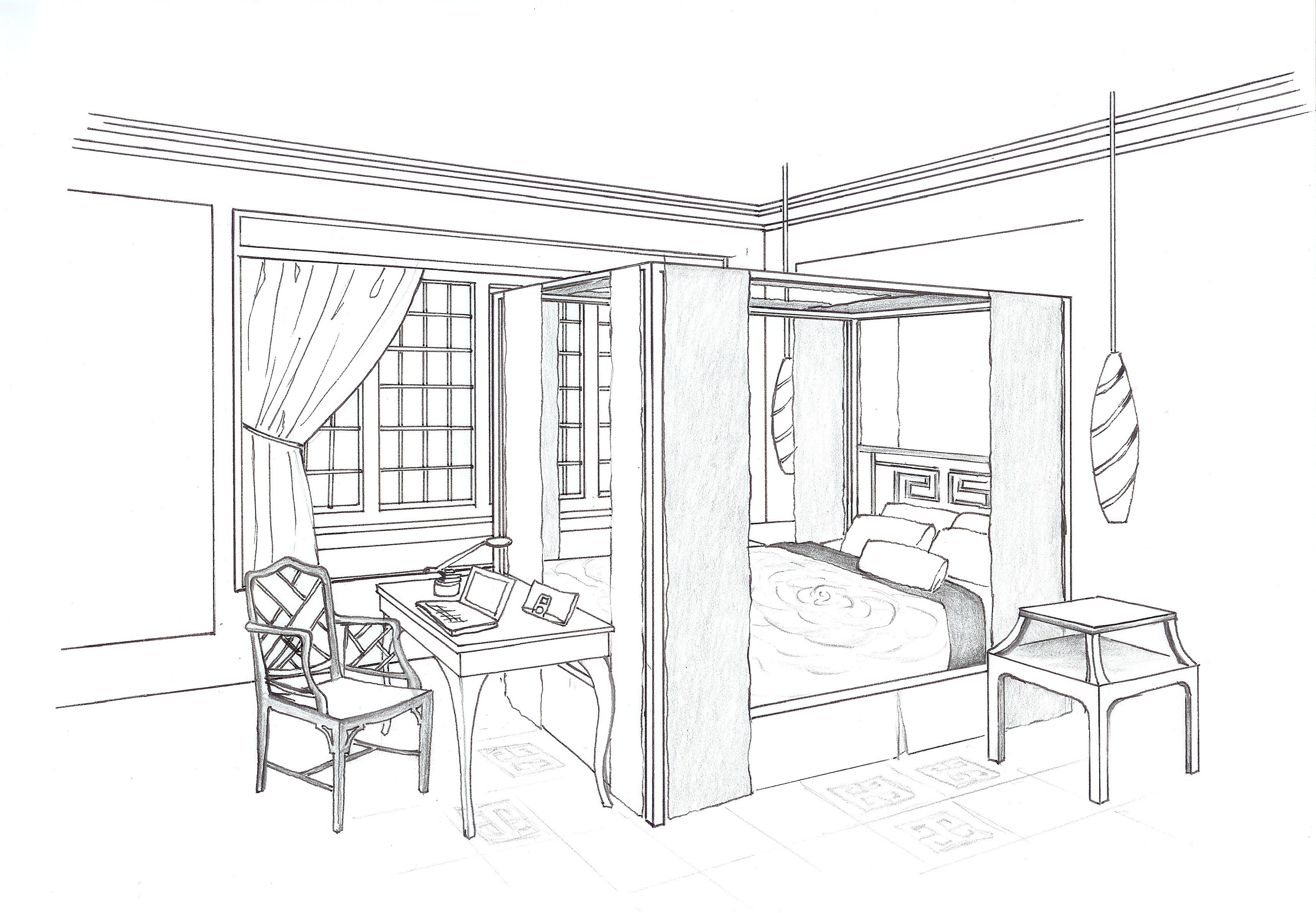 Bedroom drawing perspective - Bedroom Perspective Drawing