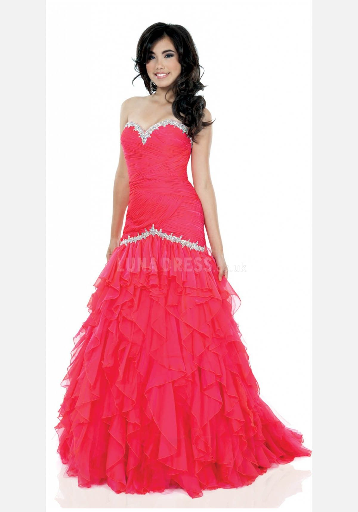 Floor length sweetheart fit n flare dropped sweep train chiffon prom