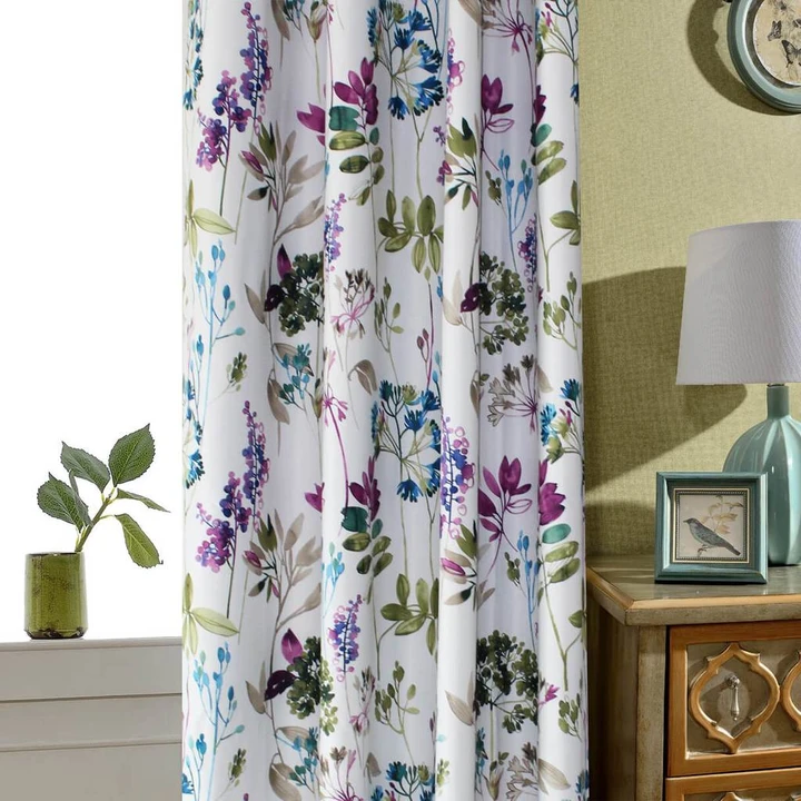 Blue Purple Green Leaf Curtains Blackout Drapes For Bedroom 2 Panels In 2020 Leaf Curtains Purple Curtains Green Curtains