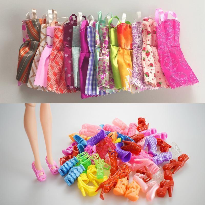 292c4acdad972 Mix Sorts 10 Pcs Beautiful Party Handmade Mini Dress Doll Clothes ...