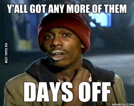 How I feel coming back to work after the holidays.