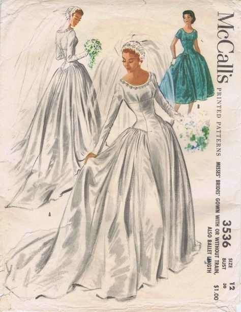 1950s Wedding Gown Dress McCalls 3536 Vintage Sewing Pattern Size 12 ...