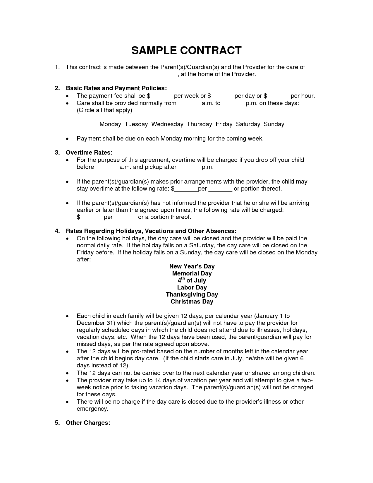 Child Care Employee Contract Printable  Childcare Forms